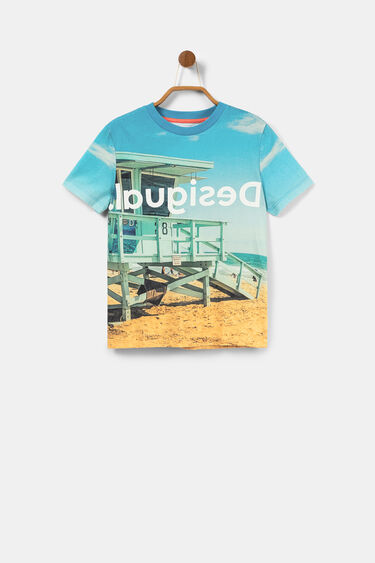 Photographic beach print T-shirt | Desigual