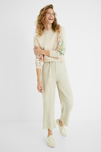 100% Lyocell cropped culotte trousers