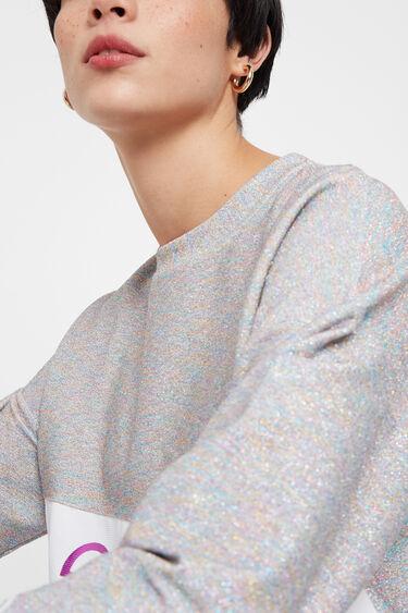 Lurex sweatshirt with LOVE band | Desigual