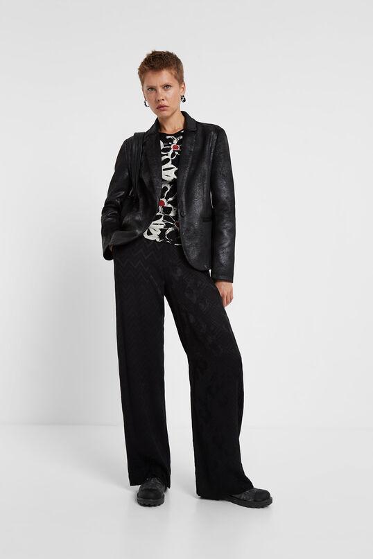 Aged leather effect blazer | Desigual