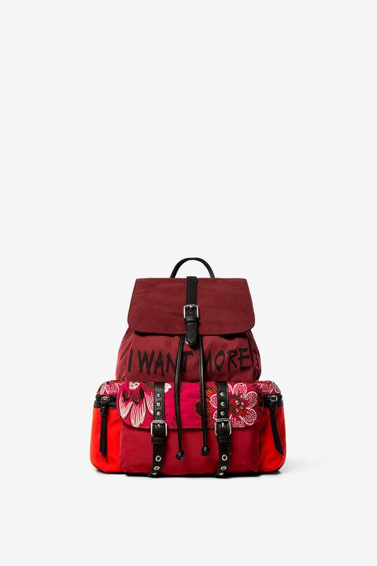Rucksack mit Blumenprint und Lettering | Desigual