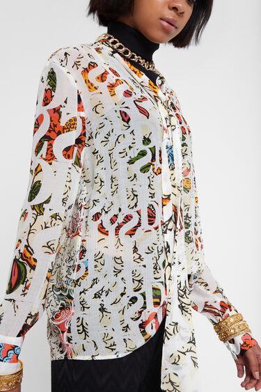 Blouse en viscose et en soie à nœud au col Designed by M. Christian Lacroix | Desigual