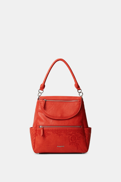 Backpack leather effect flowers