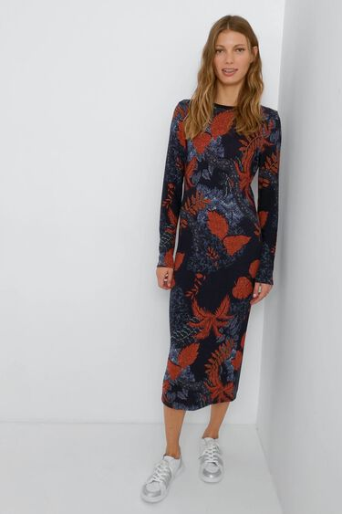 Dzianinowa sukienka o dopasowanym kroju w kwiaty | Desigual