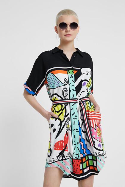 Artistic short shirt dress
