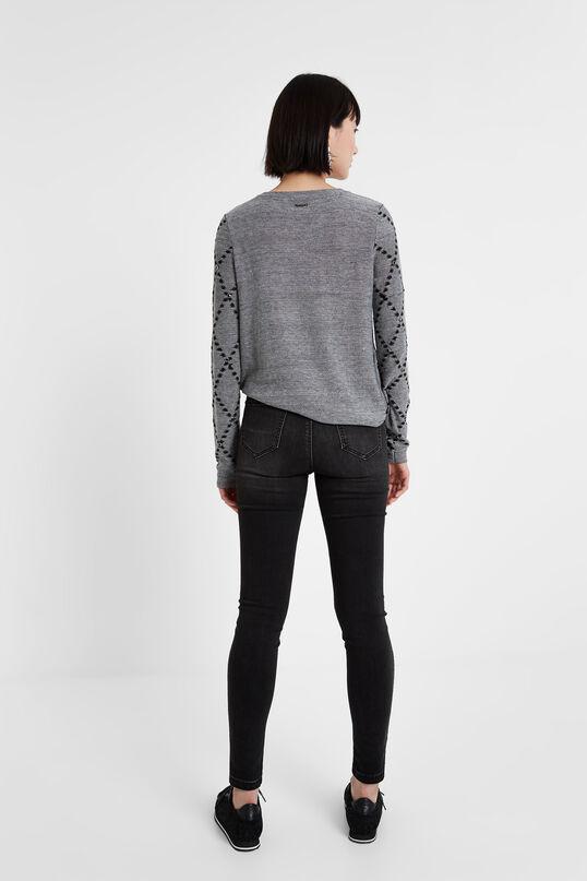 Viscose, wool and cashmere curved hem jumper | Desigual