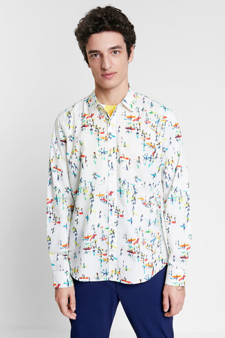 Shirt met surfprint