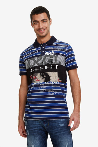 Striped polo shirt 100% cotton positional print