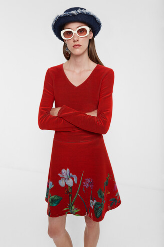 Flared dress flowers