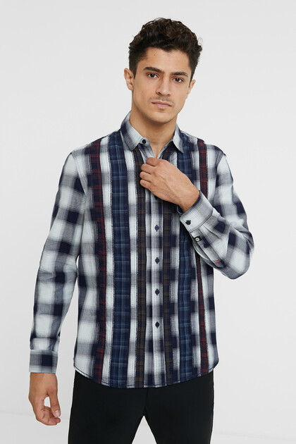 Geruit regular fit shirt met cutaway-kraag