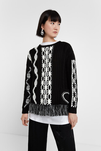 Black & White jumper fringe