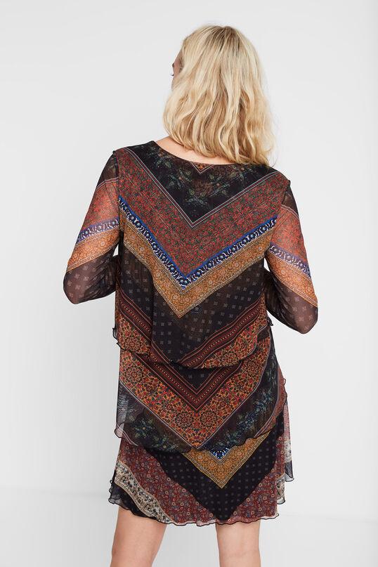 Ruffled flared frieze pattern dress | Desigual