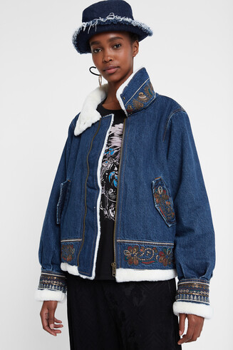 Denim flight jacket