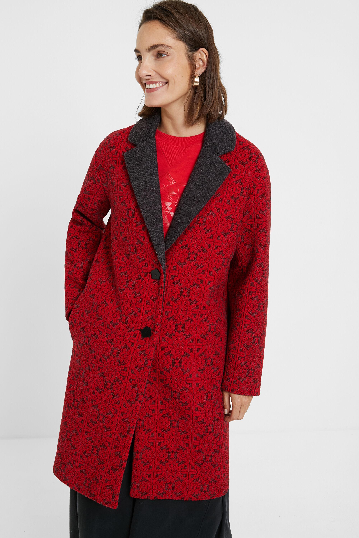 Cappotto lungo in tricot fregi | Desigual
