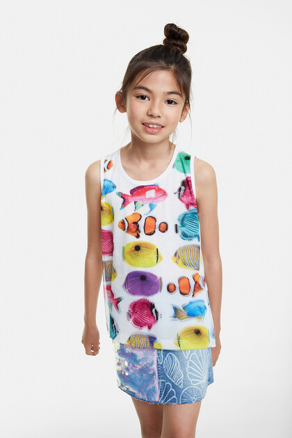 Tank top T-shirt with fish