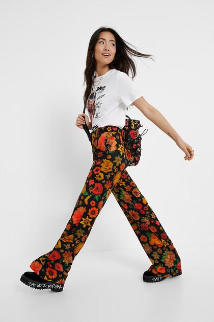 Pantalon évasé fleuri