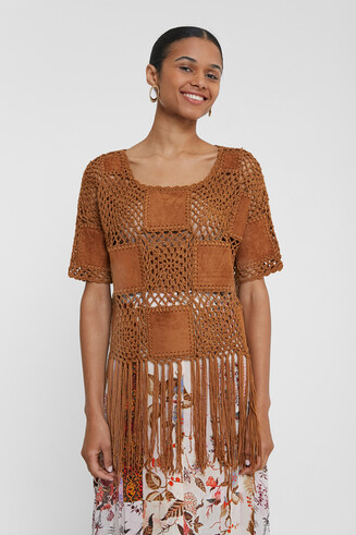 Patch crochet, leather and fringe jumper
