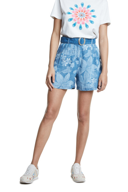 Tropical denim Bermuda shorts