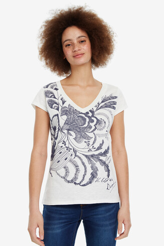 Camiseta pico print floral Cheyennes