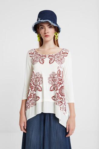 シャープな裾の曼荼羅Tシャツ