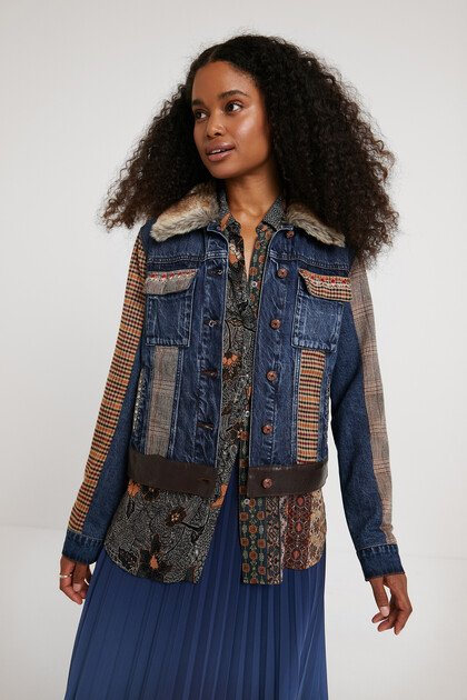 Tartan denim jacket with removable collar