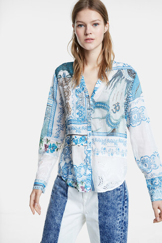 Boho floral puffed shirt