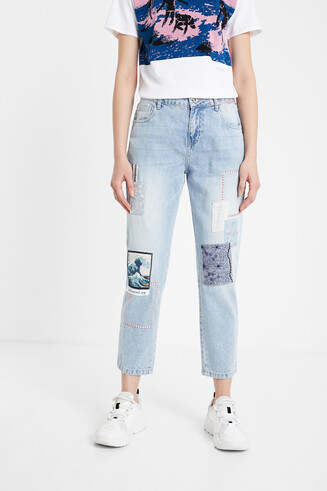 Artistic patch cropped jeans