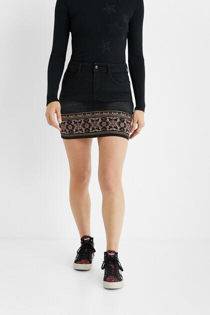 Boho denim mini-skirt