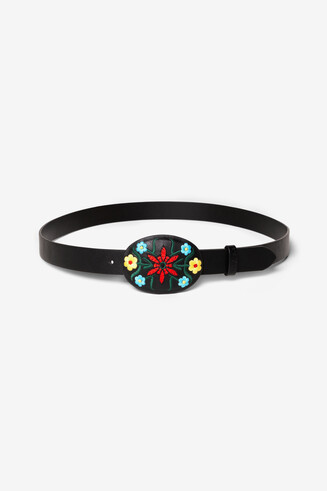 Oval Buckle Floral Belt Newone
