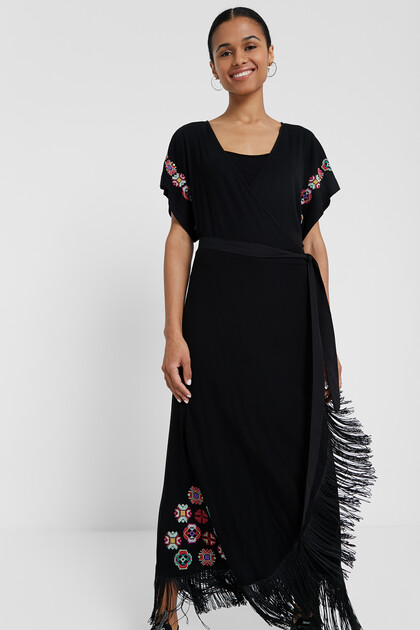 Long dress with fringe and geometric flowers
