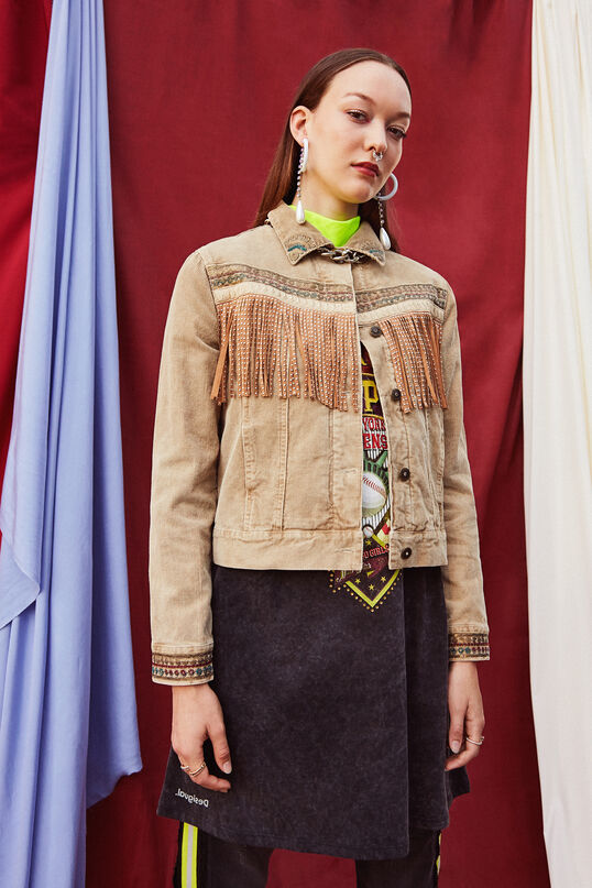 Fringed and embroidered trucker jacket | Desigual