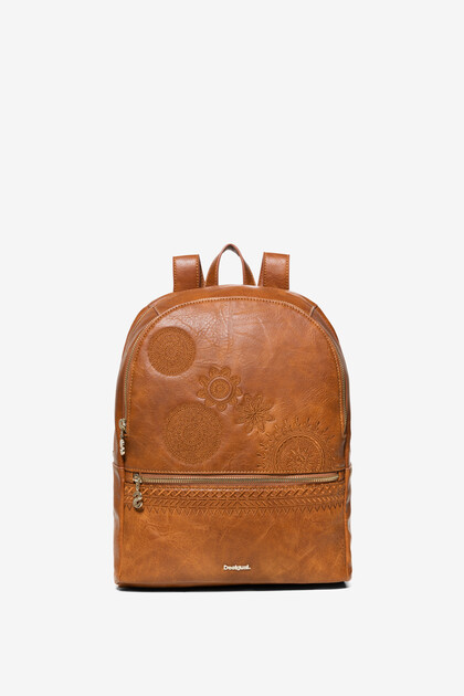 Leather effect embroideries backpack