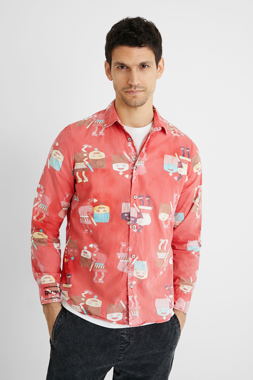 Shirt washed print - RED - XXL