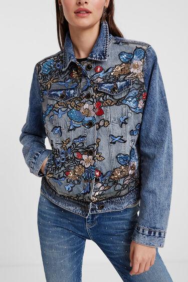 Kurtka jeansowa z nadrukiem w kwiaty | Desigual