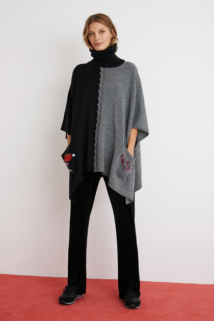 High neck bicolour poncho