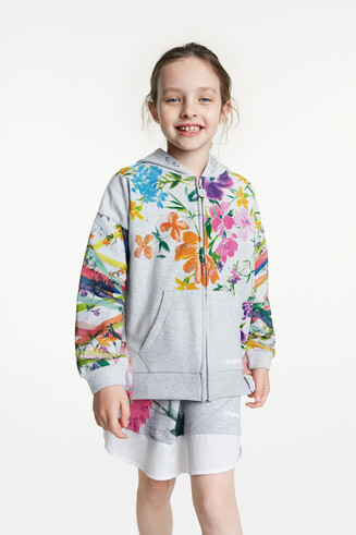 Sweatshirt with hood floral watercolour print