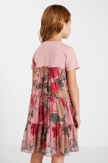Vestido camisetero volantes flores | Desigual