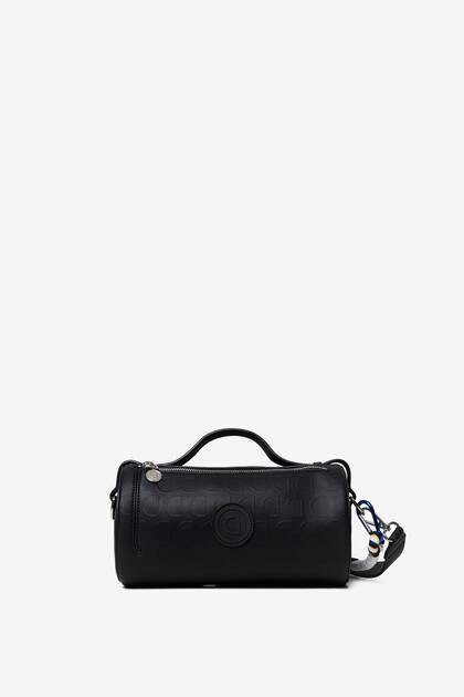 Black barrel bag in logomania