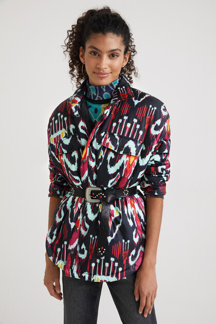 Padded print overshirt