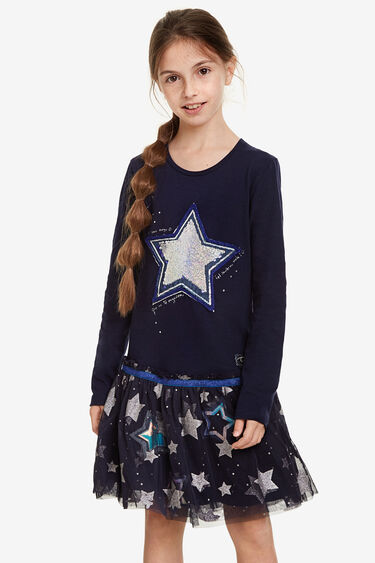T-shirt dress with tulle skirt and stars   Desigual