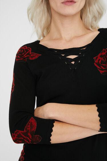 V-neckline jumper ribbons | Desigual