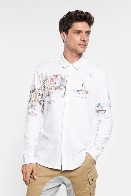 Camisa 100% algodão com paisagem