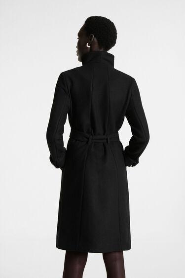 Long high neck coat belt | Desigual