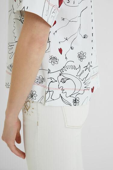 Pen effect drawing T-shirt | Desigual