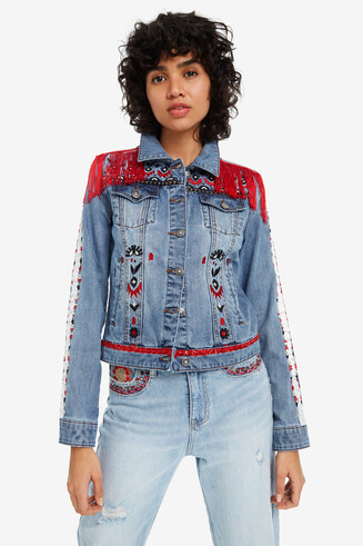 Denim jacket with fringing Butterfly