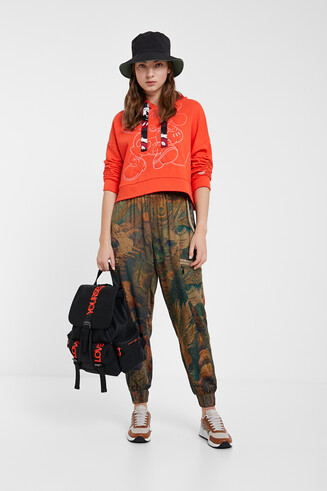 Long floral cargo trousers