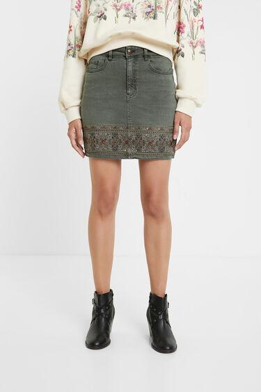 Dżinsowa spódnica mini z haftami | Desigual