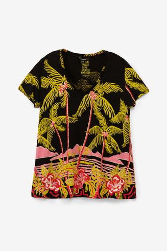 Camiseta lino diseño hawaiano