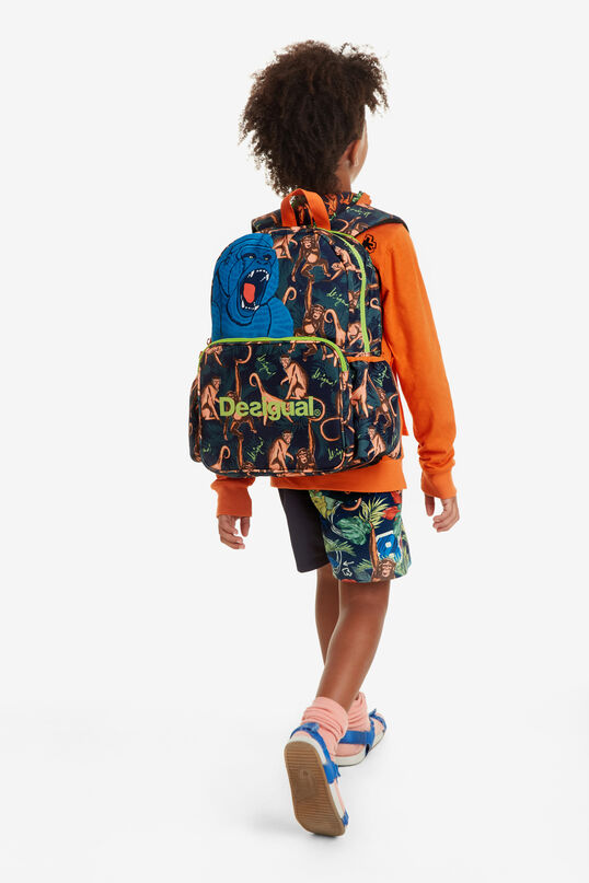 All-over Monkey Print Backpack Snorkel | Desigual