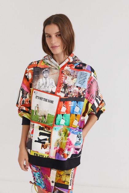 Sweat-shirt capuche mix cartes postales